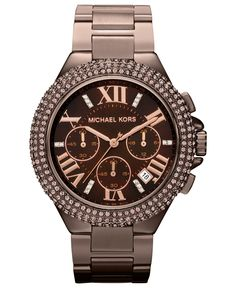 Michael Kors Watch, Women's Chronograph Camille Espresso Tone Stainless Steel Bracelet 43mm MK5665 - Women's Watches - Jewelry & Watches - Macy's