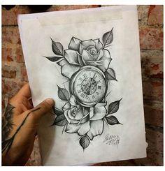 Pocket Watch Tattoo Design, Clock Tattoo Design, Sketch Tattoo Design, Tattoo Sleeve Designs, Flower Tattoo Designs, Tattoo Designs Men, Sleeve Tattoos, Clock Tattoo Sleeve, Tattoo Clock