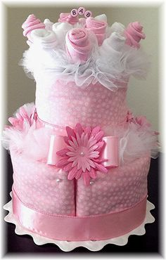 2 Tier Baby Sock Bouquet Burp Cloth Cake – Pink White Flowers – Baby Girl - Baby…