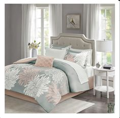 Maible Complete Comforter Set available in 3 colors: Aqua, Blush/Grey or Purple Comforters, Home Essence, Comforter Sets, Solid Bed, Home, Vibrant Bedding, King Comforter Sets, Cotton Sheet Sets, Bedding Sets