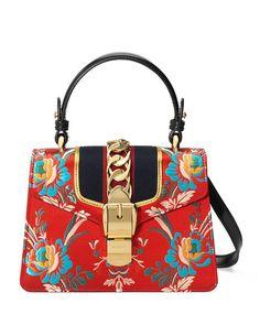 dab1a1c3ddf9 GUCCI Sylvie Small Floral Top-Handle Satchel Bag.  gucci  bags  shoulder