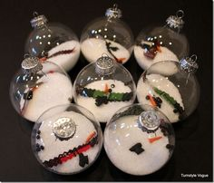 Melted Snowman Ornaments From 39 Ways to Decorate Glass Ornaments Clear Glass Ornaments, Glass Christmas Ornaments, Christmas Decorations, Decorating Ornaments, Ornaments Ideas, Snowman Decorations, Glitter Ornaments, Ball Ornaments, Christmas Projects