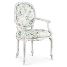 Bellona Armchair, Green/Multi - Furniture - Sale by Category - Sale One Kings Lane Furniture Sale, Office Furniture, Luis Xvi, French Dining Chairs, Dining Decor, Dining Room, Decorating Small Spaces, Decor Styles, Accent Chairs