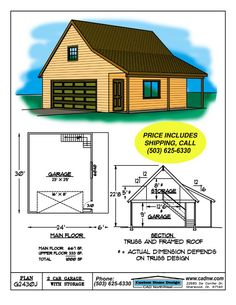 Two story garage for cottage.  Alter exterior finishes to be more quaint - carriage style door, shutters etc.  Garage Plan G2430J details