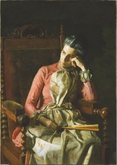 Miss Amelia Van Buren (c.1891). Thomas Eakins (American, 1844-1916). Oil on canvas. The Phillips Collection. Eakins centered his attention on Van Buren's face and hands, creating through subtle means—deft highlights, distant glance, and relaxed yet tensile hands—an image of great psychological complexity. Her weary head leans on her curved hand. She looks absently towards the strong light, which defines her face. Eakins establishes Van Buren's character, her quiet strength and determination.