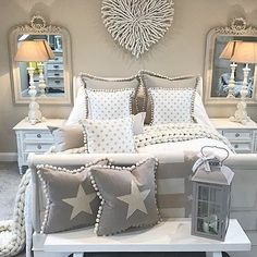 Star cushion, features a hidden zipper fastening, a coordinating fabric back and hollow fibre filling. These cushions come in a choice of styles. Star Cushion, Cushion Fabric, Star Bedroom, Bedroom Cushions, Living Room Decor, Bedroom Decor, My Ideal Home, Front Rooms, Bedroom Inspo