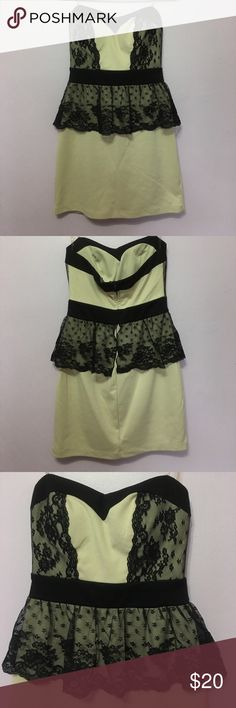 Tan Dress w/ Black Lace Strapless Dress Tan Strapless dress with black lace detailing; worn once Love Reign Dresses Strapless