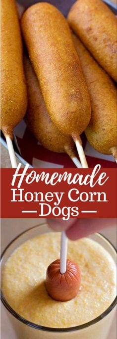 These homemade honey corn dogs are perfect as snack or appetizer. These homemade honey corn dogs are perfect as snack or appetizer and are ready to go in just 45 minutes! Youll never go back to the freezer kind! Corn Dogs Receta, Think Food, Love Food, Appetizer Recipes, Dessert Recipes, Meat Appetizers, Avacado Appetizers, Prociutto Appetizers, Mexican Appetizers