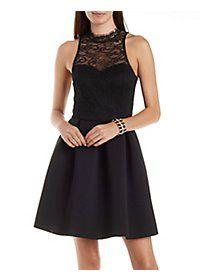 Lace & Scuba Knit Mock Neck Skater Dress