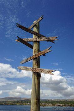 Panneau indicateur à Hanga Roa, Ile de Pâques - Chili