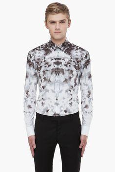 ALEXANDER MCQUEEN Grey Leaf Print Shirt @ Ssense. $845.00