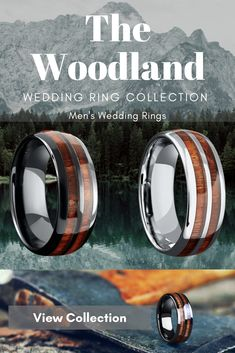 The perfect gift for your husband. A new mens wedding ring! This collection of mens wooden wedding rings is called The Outdoorsman Collection. Over 36 wooden wedding rings to pick from. These two rings are called the wooden barrel rings. Unique Diamond Rings, Round Diamond Engagement Rings, Antique Engagement Rings, Unique Rings, Wedding Men, Wedding Bands, Hunting Wedding, Wedding Wall, Wedding Ideas