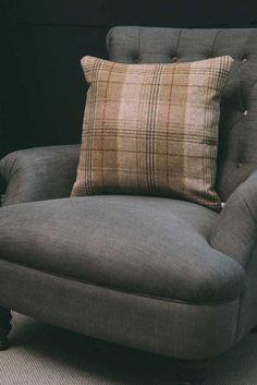 Pins & Ribbons - Home Furnishings - Sofa Cushions - Sand Tartan Wool Sofa Cushions