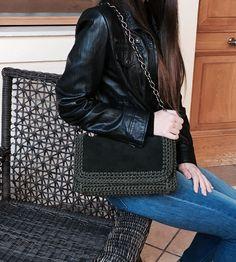 Handmade crochet snake print leather flap bag by Urban Queen