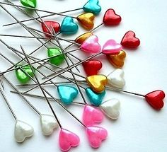 multi-colored heart pins