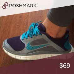LIKE NEW! Women's Nikes EXCELLENT CONDITION used Nike free running shoes. SUPER cute tennis shoes!!! Deep purple, teal and metallic gray. Size 7 Nike Shoes Athletic Shoes