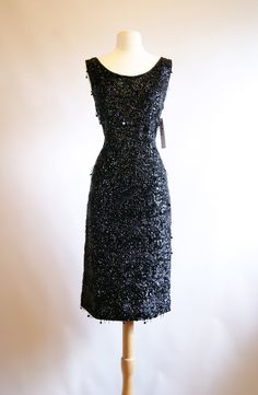 Vintage 1950's Beaded Black Cocktail Dress 50s by xtabayvintage