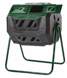 Spin Compost Tumbler - 160 Liters / 43 Gallon, Dual Chamber Composter On Two-Leg Stand Outdoor Compost Bin, Best Compost Bin, Garden Compost, Gardening, Compost Bin Tumbler, Compost Container, Yard Waste, Wheelbarrow, Steel Frame