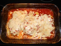 Chicken Parm (S)  4 boneless, skinless ck breast  2 eggs  3/4 cup almond flour  2 tbsp nutritional yeast  Garlic salt to taste  1/4 cup grated parm cheese  1 8oz block of mozz  1/2 jar of no sugar added Ragu spag sauce  Preheat oven to 400. Grease a 9X13. In a bowl mix the almond flour, nutritional yeast, parmesan cheese, and garlic. In a seperate bowl crack the eggs. Dip ck in eggs then coat it in the dry mixture. Bake for 30 minutes. Cover with sauce & cheese and bake another 10 mins. .