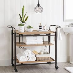 Bathroom Cart, Bathroom Table, Bathroom Storage, Brown Bathroom, Bathroom Organisation, Basement Bathroom, Small Bathroom, Organization, Earthy Home Decor