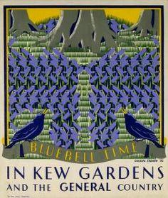 'Bluebell Time in Kew Gardens' London Underground poster by Margaret Calkin James, 1931 Posters Uk, Railway Posters, Illustrations And Posters, Poster Prints, Kew Gardens London, London Transport Museum, Public Transport, British Travel, Nostalgia