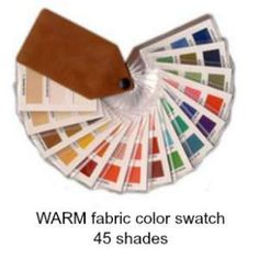 Warm 45 shade fabric color swatch   #warm color swatch # fabric color fan #warm color family http://www.style-yourself-confident.com/color-analysis-warm.html