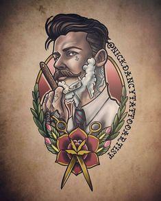 Tattoos 3d, Body Art Tattoos, Future Tattoos, Tattoos For Guys, Berg Tattoo, Barber Tattoo, Barber Shop Decor, Barber Haircuts, Tattoo Designs