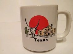Texas coffee cup with the Alamo and longhorn skull Big Red Sun