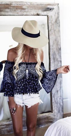 boho outfit_top&shorts