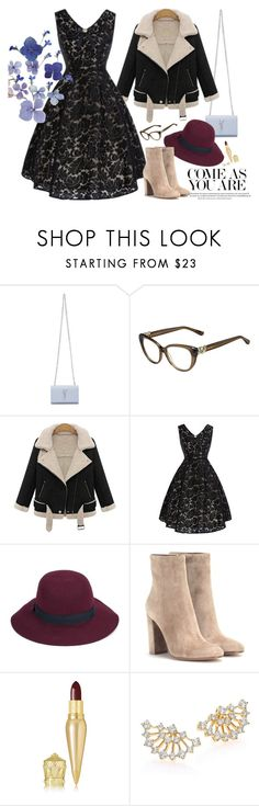 """Blue flowers"" by gabyidc ❤ liked on Polyvore featuring Yves Saint Laurent, Jimmy Choo, Christys', Gianvito Rossi, Christian Louboutin, Adriana Orsini, Ødd. and vintage"