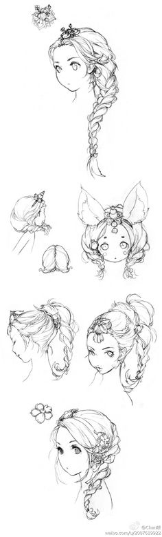 Some interesting and very detailed, elaborate hairstyles for female characters.....
