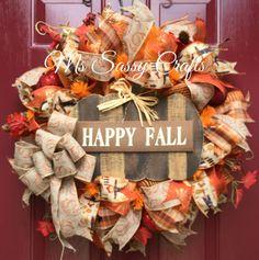 Fall Wreath  Fall Burlap Wreath  Fall Deco Mesh by MsSassyCrafts