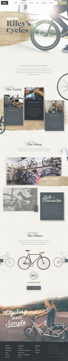 First iteration of the About page for the new Riley's Cycles website - Ui design concept by Nathan Riley @ Green Chameleon.