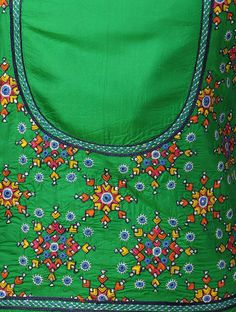 Buy Green-Multi-Color Silk Hand Embroidered Blouse Piece Online at Jaypore.com