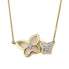 Neda Behnam 14k Gold Diamond Accent Butterfly Necklace