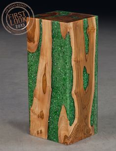 Sparkle & shine at #lvmkt Jan28-Feb1: Ice stools from @Phillips Collection - Negative space is filled with a glass/resin mix to create wood stools that sparkle. Each one is unique.