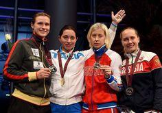 FIE GP Doha 2015 Podium: Gold Mara NAVARRIA (ITA), Silver Britta HEIDEMANN (GER), Bronze Tatiana LOGUNOVA (RUS) and Yana ZVEREVA (RUS) (Photo: Augusto BIZZI)