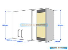 Muebles de cocina plano de alacena de melamina esquinera en L - Web del Bricolaje-Diy-diseño de muebles con brico-diy.net