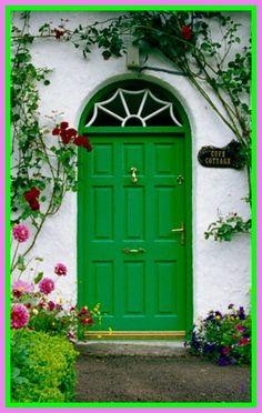 Shamrock Cottage: ~ Blooming Flowers Around Green Cottage Door, Stradbally, County Laois, Ireland. Portal, Cottage Door, When One Door Closes, Irish Cottage, Door County, Unique Doors, Grand Entrance, Door Knockers, Closed Doors