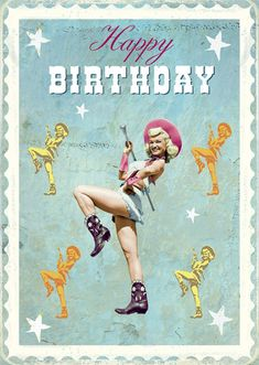 "Carte double ""Happy Birthday Cowgirl"""