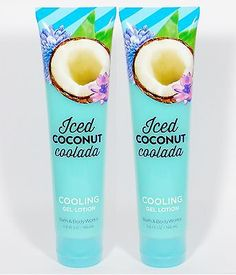2 Bath Body Works COOL COCONUT COLADA Cooling Gel Lotion Cream ORANGE VANILLA in Health & Beauty,Bath & Body,Body Washes & Shower Gels | eBay