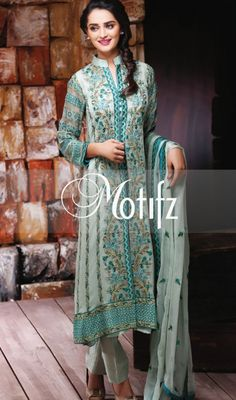 Buy Sea Green Embroidered Crinkle Chiffon Salwar Kameez by Motifz Clothes Winter Collection
