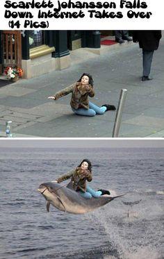 Scarlett Johansson Falls Down, Internet Takes Over (14 Pics)