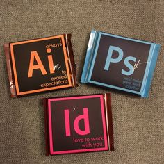 This is a self-promotion leave behind piece, inspired by the core set of software that designers should have mastery of. Made with Ritter Sport chocolate bars to mirror the square shape of the creative suite logos.