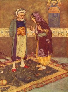 "Edmund Dulac - 'As soon as he came in she began to jeer at him' from ''Ali Baba and the Forty Theives"" (1907)"