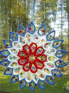 "HANDCRAFTED ""LARGE SUNCATCHERS"" IN PLASTIC CANVAS"