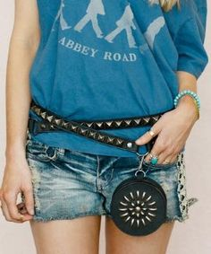 Black Leather Stud Wrap Hip Bag $60.99 by Zulily