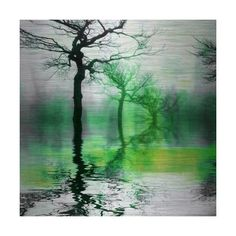 Parvez Taj Misty Green Lake Art Print on Brushed Aluminum 32 x 32 Home ($218) ❤ liked on Polyvore featuring home, home decor, wall art, art, backgrounds, metal art, wall decor, parvez taj, lake home decor and lake wall art