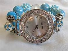 Aqua and Crystal Chunky Beaded Watch Band and Face by BeadsnTime, $30 ...