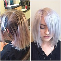 When platinum should be her natural color. Toner: Redken Shades EQ 9v and 9b equal parts. Apply on towel dried hair for 10 minutes.